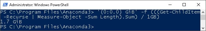 One liner PowerShell for getting directory size (in GB).png